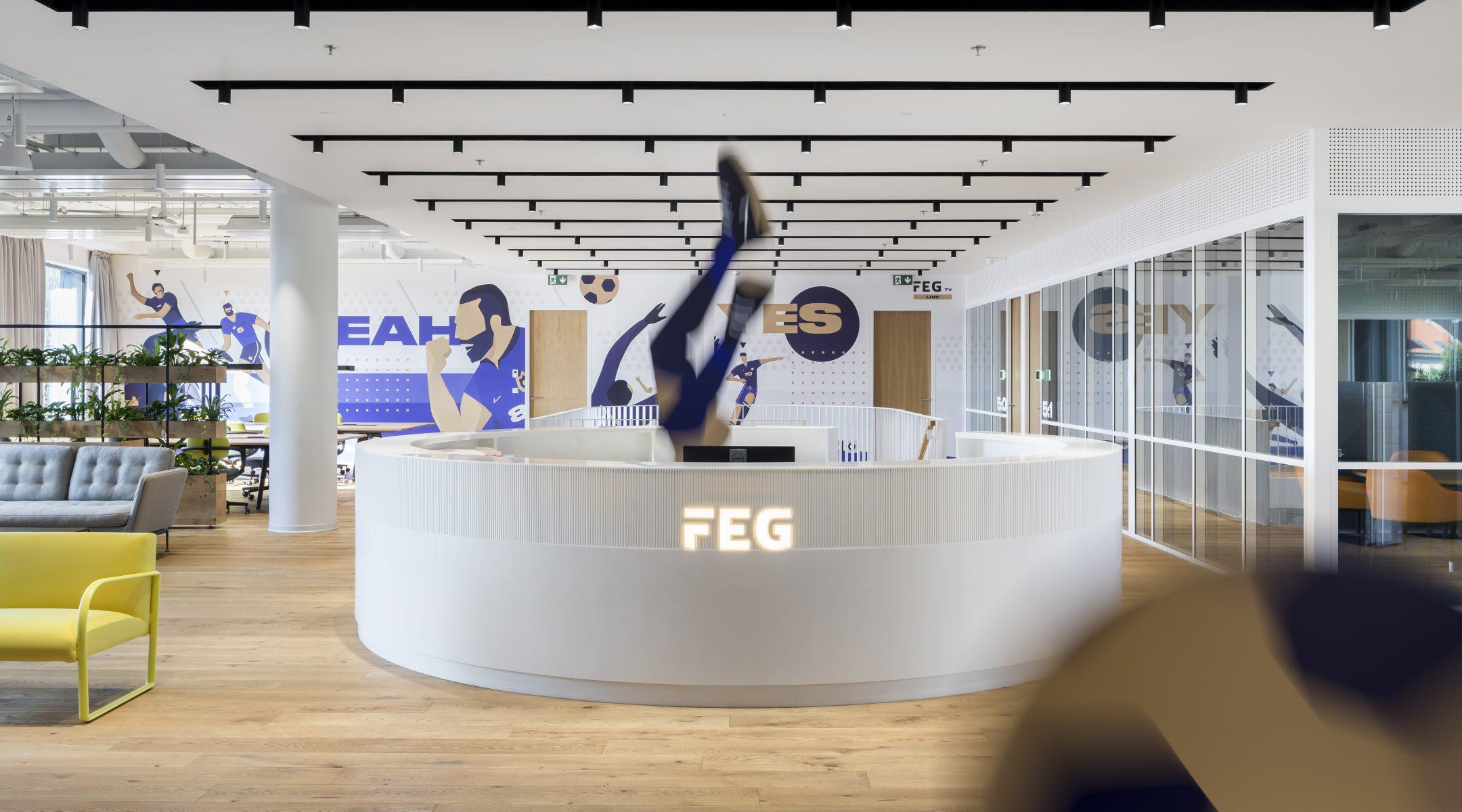 Recepce v agilních kancelářích pro Fortuna Entertainment Group v Praze