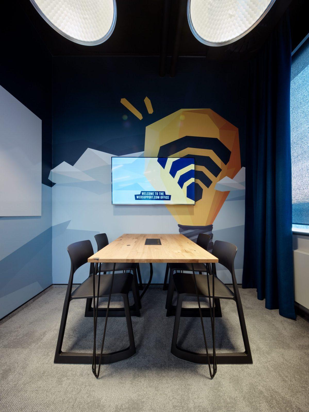 Zasedačka s firemní grafikou v kanceláři Websupport v Bratislavě