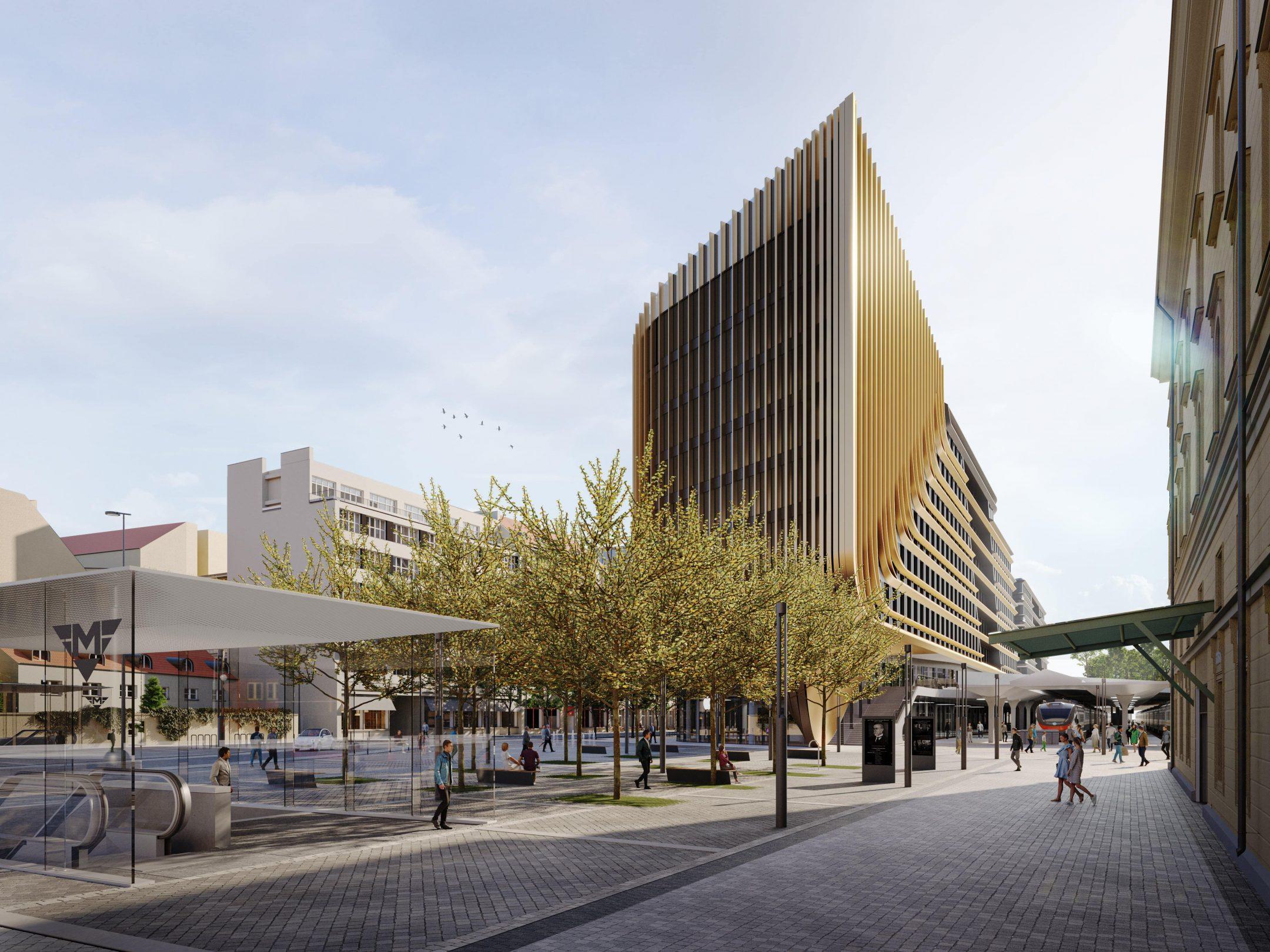 Vítězný návrh náměstí u Masarykova nádraží v Praze
